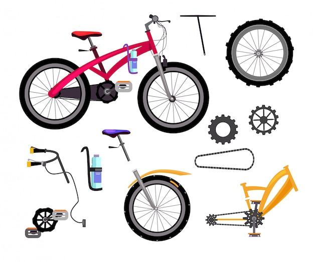 Zestaw szczegółów rowerów