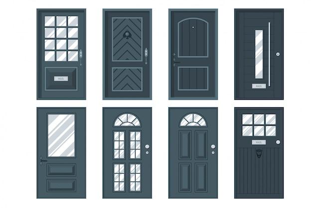Zestaw szczegółowych drzwi wejściowych do prywatnego domu lub budynku