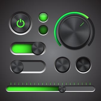 Zestaw szczegółowych elementów interfejsu użytkownika z pokrętłem, przełącznikami i suwakiem w metalicznym stylu.