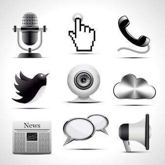 Zestaw szczegółowych ikon komunikacji.