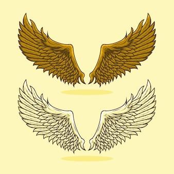 Zestaw szczegółowych ilustracji złote skrzydła