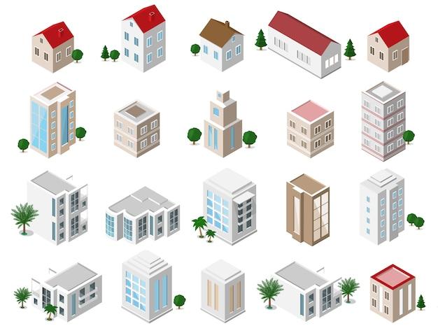 Zestaw szczegółowych izometrycznych budynków miejskich: domy prywatne, wieżowce, nieruchomości, budynki użyteczności publicznej, hotele. kolekcja ikon budynku