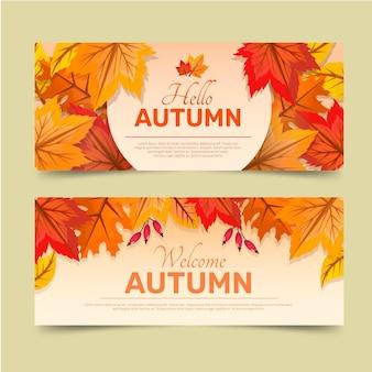 Zestaw szczegółowych jesiennych poziomych banerów