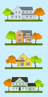 Zestaw szczegółowych kolorowych domków letniskowych. styl nowoczesnych budynków. ilustracja