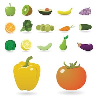 Zestaw szczegółowych owoców i warzyw