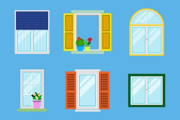 Zestaw szczegółowych różnych kolorowych okien z parapetami, zasłonami, kwiatami, balkonami.