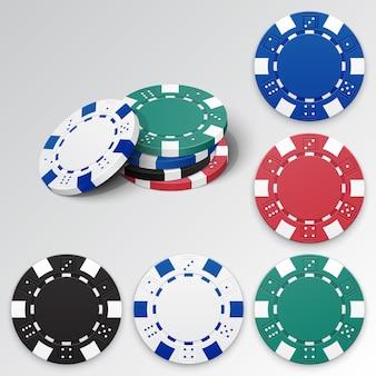 Zestaw szczegółowych żetonów do gry w kasynie