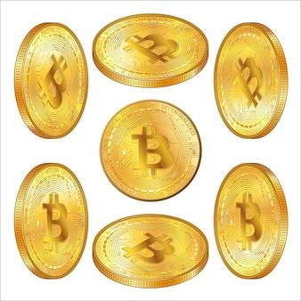 Zestaw szczegółowych złotych monet bitcoins w widoku izometrycznym na białym tle. btc symbol nowoczesnego cyfrowego złota i pieniędzy. ilustracja wektorowa.