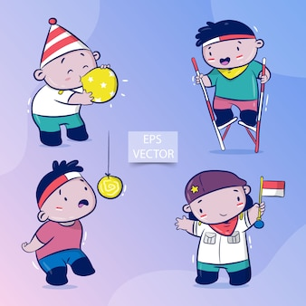 Zestaw szczęśliwego dnia niepodległości indonezji, tradycyjna gra w sierpniu, jedz krakersy, dmuchaj balony, wyścigi na szczudłach