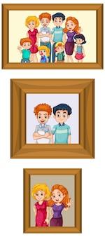 Zestaw szczęśliwej rodzinnej fotografii na drewnianej ramie