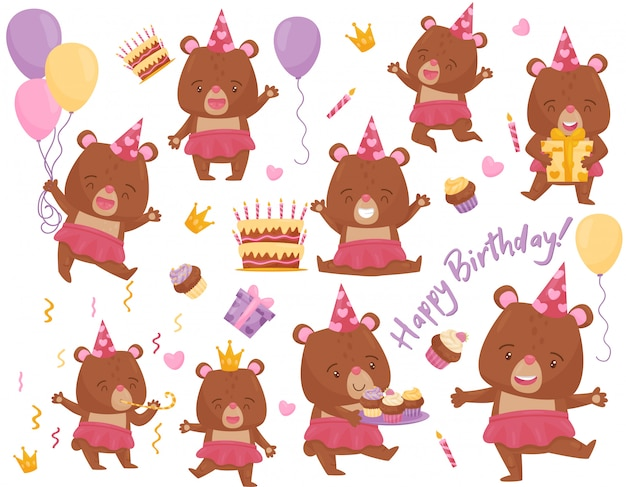 Zestaw szczęśliwy dziewczyna miś w różnych działań. urocze humanizowane zwierzę. elementy na pocztówkę urodzinową
