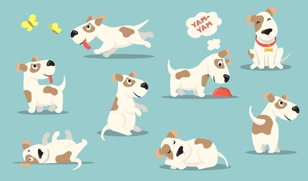 Zestaw szczęśliwy mały pies. śliczny zabawny szczeniak wykonujący różne czynności, polowanie, zabawa, jedzenie, spanie.