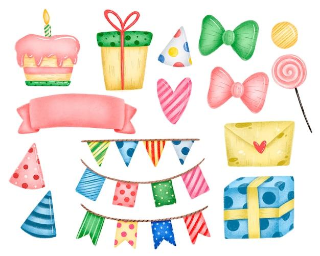 Zestaw szczęśliwy urodziny kreskówka. ciasto, prezenty, kapelusz urodzinowy, flagi, girlandy, banery proporczyki, pocztówka, list, słodycze, serce, wstążka, łuki