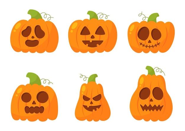 Zestaw szczęśliwych dyń halloween z różnymi twarzami na białym tle
