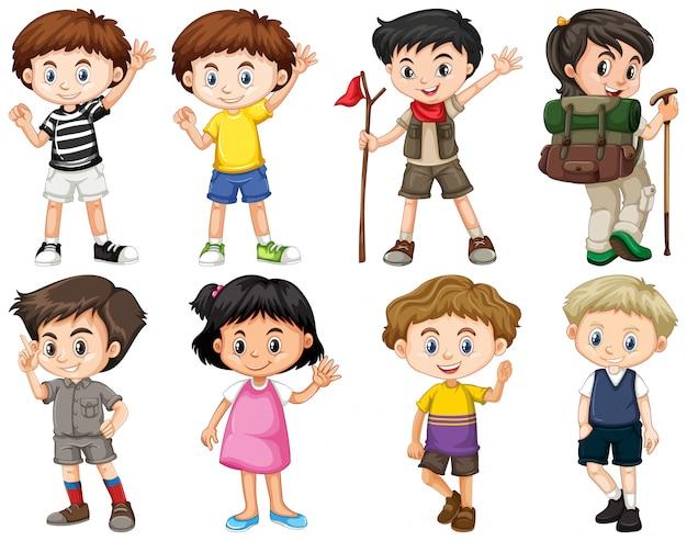 Zestaw szczęśliwych dzieci robi różne działania