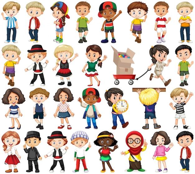 Zestaw szczęśliwych dzieci w różnych działaniach