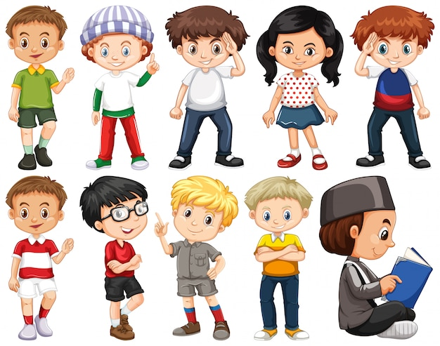 Zestaw szczęśliwych dzieci w różnych strojach