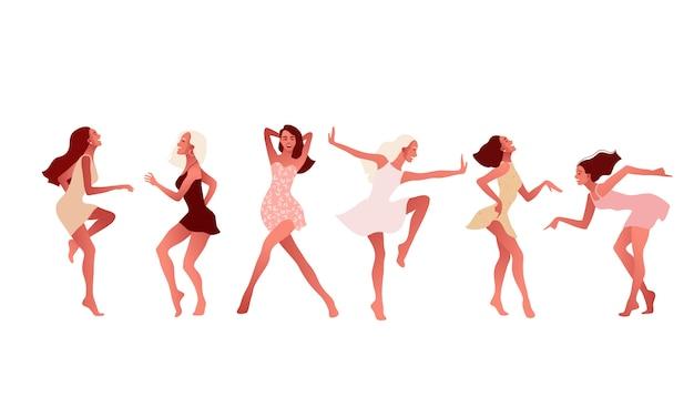 Zestaw szczęśliwych dziewcząt lub przyjaciół tańczących i śmiejących się.