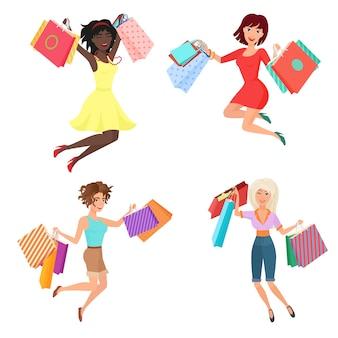 Zestaw szczęśliwych i wesołych ładnych kobiet kobiet skaczących, tańczących z torby na zakupy