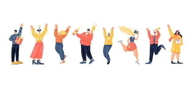 Zestaw szczęśliwych ludzi bawiących się na imprezie nowy rok lub urodziny płaska konstrukcja ilustracji wektorowych