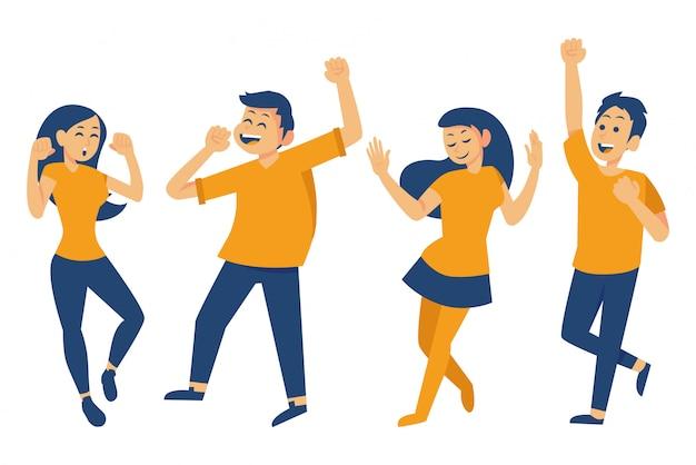 Zestaw szczęśliwych ludzi tańczących