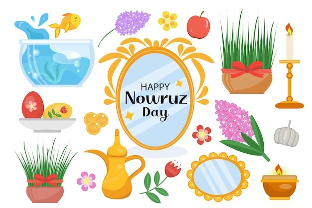 Zestaw szczęśliwych obiektów dnia nowruz. kolekcja elementów z trawą doniczkową, kwiatami hiacyntu, akwarium ze złotą rybką, lusterkiem. nowy rok w iranie.