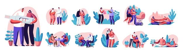 Zestaw szczęśliwych par czeka na dziecko i ćwiczenia w siłowni. ciąży kobiece postacie z aktywności sportowej mężowie fitness razem. fitball, joga, relaksujące pozy. ilustracja wektorowa kreskówka ludzie