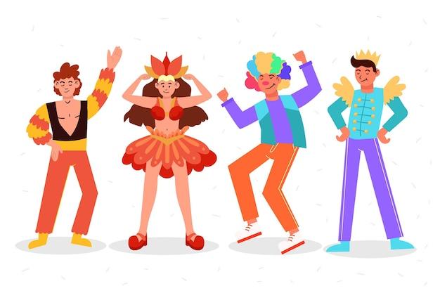 Zestaw szczęśliwych postaci w kostiumach karnawałowych