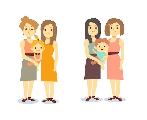 Zestaw szczęśliwych rodzin gejów lgbt kobiet z dziećmi