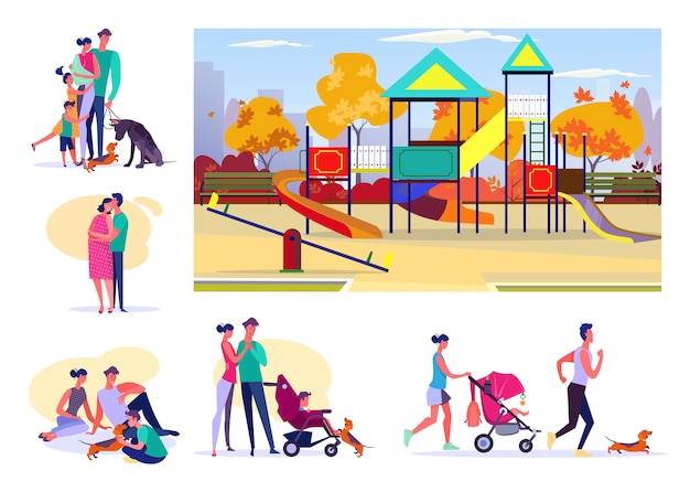 Zestaw szczęśliwych rodzin spędzających czas razem