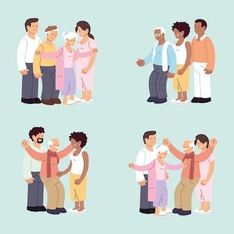 Zestaw szczęśliwych rodzin, wnuczki, wnuka i dziadków