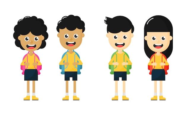 Zestaw szczęśliwych ślicznych dzieci w wieku szkolnym. powrót do szkoły. postać z kreskówki śmieszne na białym tle.