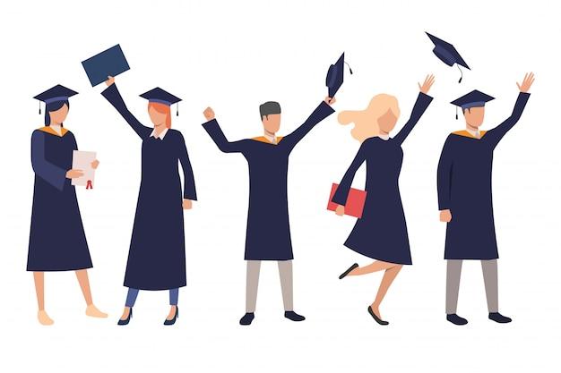 Zestaw szczęśliwych uczniów szkół średnich