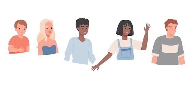 Zestaw szczęśliwych uśmiechniętych ludzi portretów na białym tle ilustracji