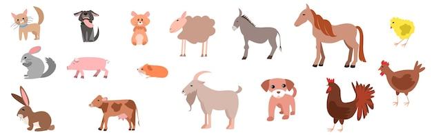 Zestaw szczęśliwych zabawnych zwierząt domowych lub zwierząt gospodarskich