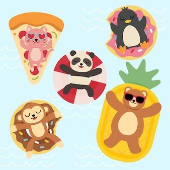 Zestaw szczęśliwych zwierzątek relaksujących się podczas letnich wakacji w basenie, postaci z kreskówek