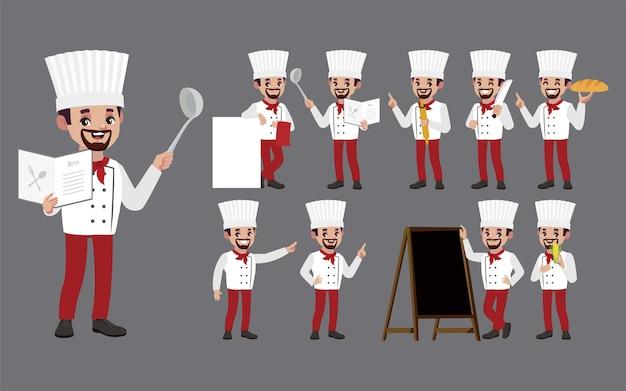 Zestaw szefa kuchni w różnych pozach