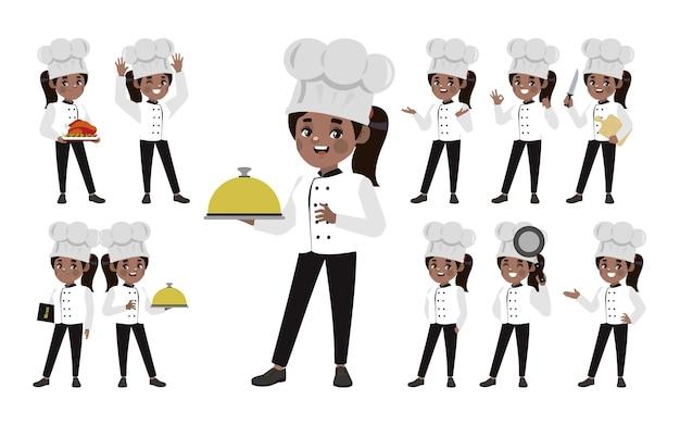 Zestaw Szefa Kuchni W Różnych Pozach Premium Wektorów