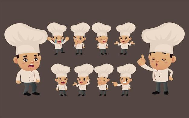 Zestaw szefa kuchni z różnymi emocjami