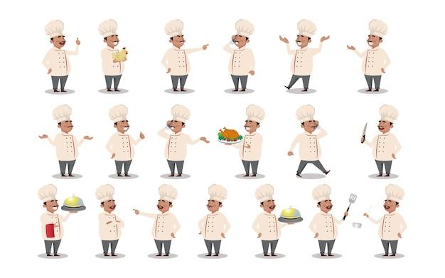 Zestaw szefa kuchni z różnymi pozami
