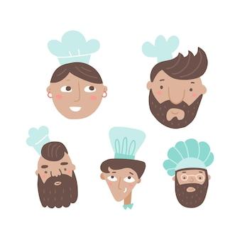 Zestaw szefów kuchni gotuje twarze z kreskówek ręcznie rysowane w płaskich postaciach męskich i żeńskich w czapkach szefa kuchni
