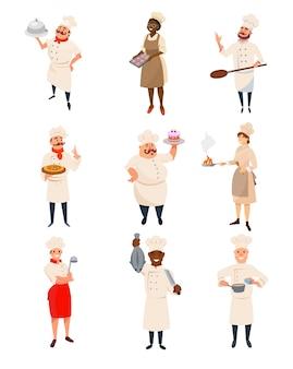 Zestaw szefów kuchni restauracji z naczyniami i naczyniami w rękach. profesjonalni pracownicy kuchni. postacie kobiet i mężczyzn w mundurze kucharza z kapeluszem. płaska konstrukcja