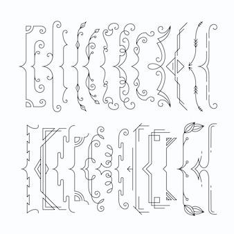 Zestaw szelek graficznych monochromatycznych linii, zamków.