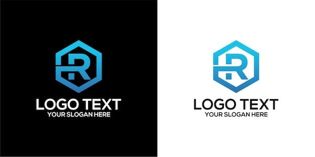 Zestaw sześciokątnego logo domowego w połączeniu z szablonem wektorów premium z literą r