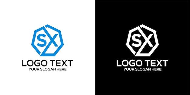 Zestaw sześciokątnego logo w połączeniu z szablonem litery x i s wektor premium