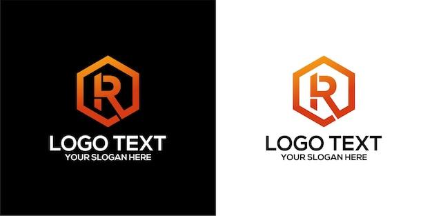 Zestaw sześciokątnego logo w połączeniu z szablonem na literę r wektor premium