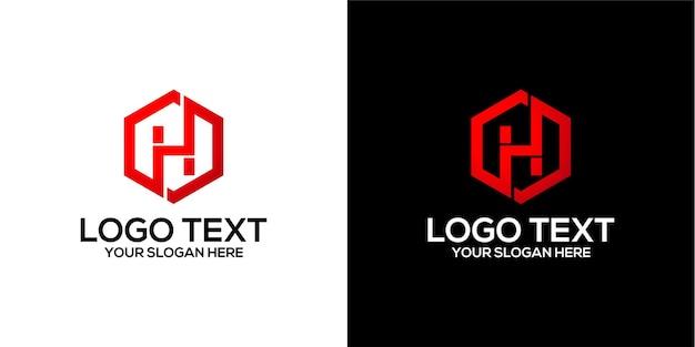 Zestaw sześciokątnego logo w połączeniu z szablonem wektorów premium na literę h