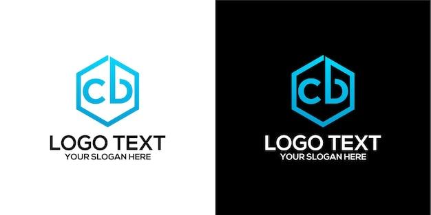 Zestaw sześciokątnego logo w połączeniu z szablonem wektorów premium z literami b i c