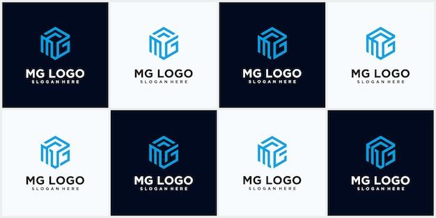 Zestaw sześciokątny zestaw logo mg