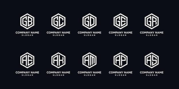 Zestaw sześciokątnych logo list kreatywnych monogram